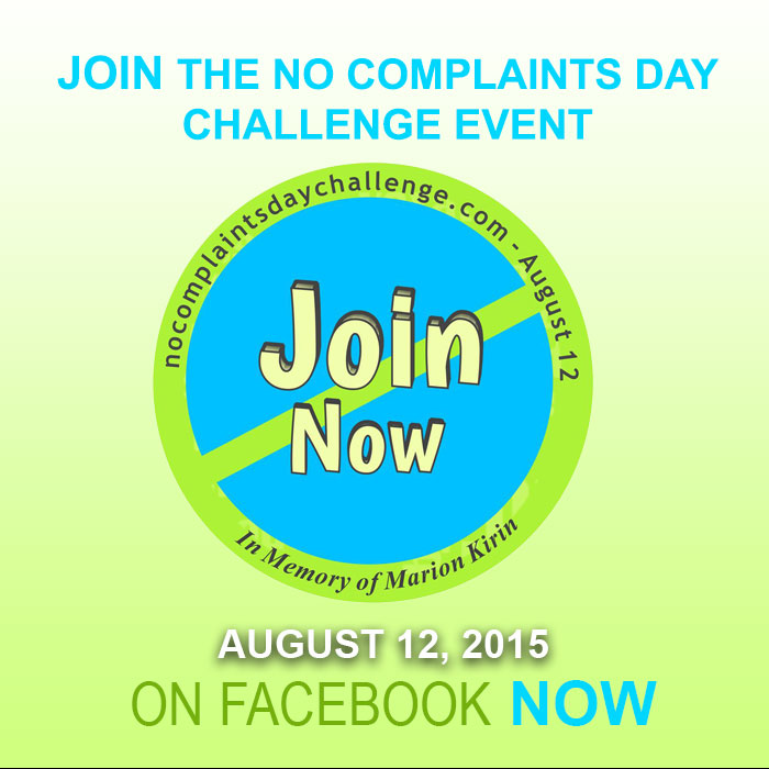 No Complaints Day Challenge Returns for 2nd Year