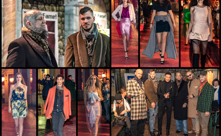 A collage of runway photos from an outdoor fashion show.