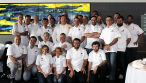 Chef Amber Kaba (first row, third from the left) with a group at The White Jacket Effect's first public event in Sydney at Quay Restaurant
