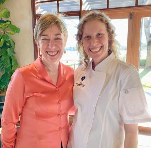Chef Amber Kaba (right) posing with Landmark SELP leader Linda Connor.