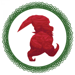 The logo graphic for the Wiener Wichtel Challenge; a stylized red elf surrounded by a green wreath design.
