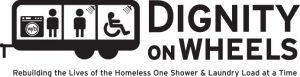 "Dignity on Wheels logo. The text reads, ""Dignity on Wheels. Rebuilding the Lives of the Homeless One Shows & Laundry Load at a Time."""