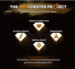 "Logo for The MANchester Project. The text reads: ""The MANchester Project. Empowering modern men. Human connection. Mindfulness. Mental Health. Physical health. Enriching lives by promoting personal growth and development."""